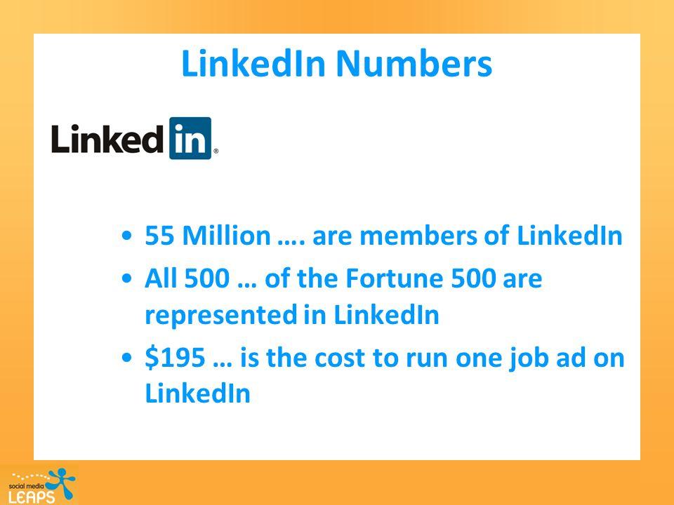 LinkedIn Numbers 55 Million ….