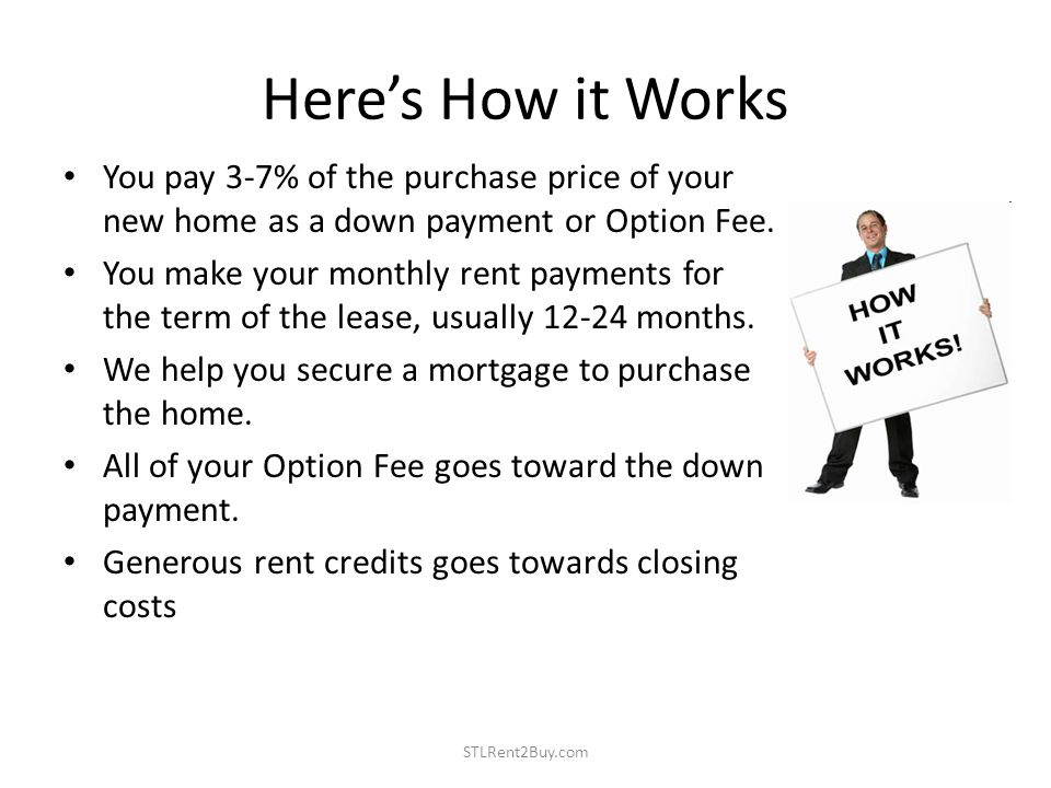Heres How it Works You pay 3-7% of the purchase price of your new home as a down payment or Option Fee.