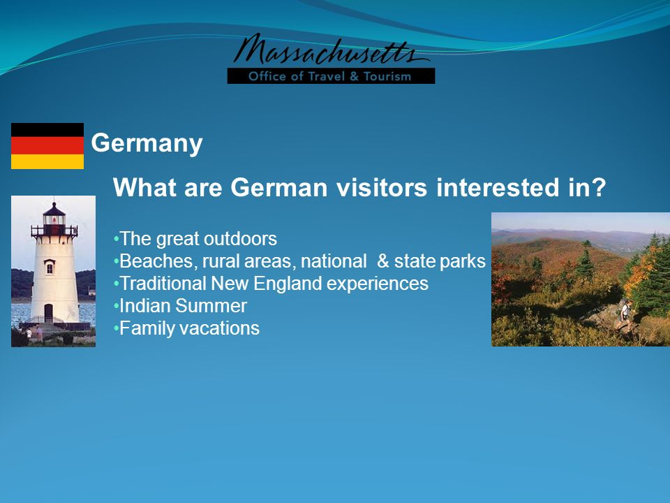 What are German visitors interested in? The great outdoors Beaches, rural areas, national & state parks Traditional New England experiences Indian Sum