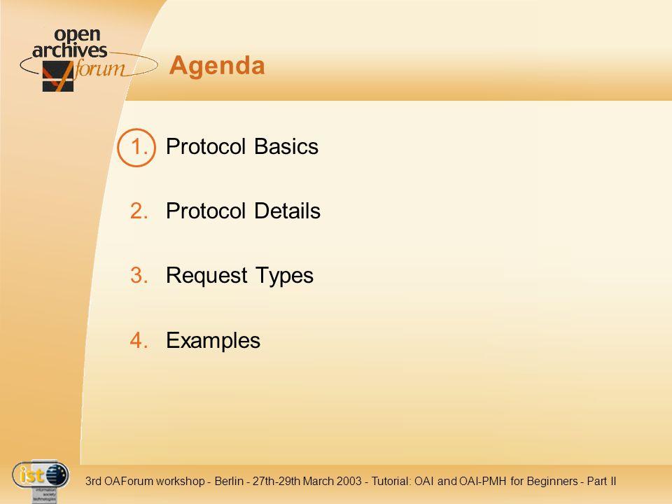 IST- 2001-320015 3rd OAForum workshop - Berlin - 27th-29th March 2003 - Tutorial: OAI and OAI-PMH for Beginners - Part II Agenda 1.Protocol Basics 2.P