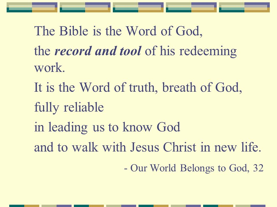 Gods Mission Bible: Historical record of Gods mission Gods mission: His long term purpose/intention to restore creation, all of human life Story of restoration against backdrop of creation and sin