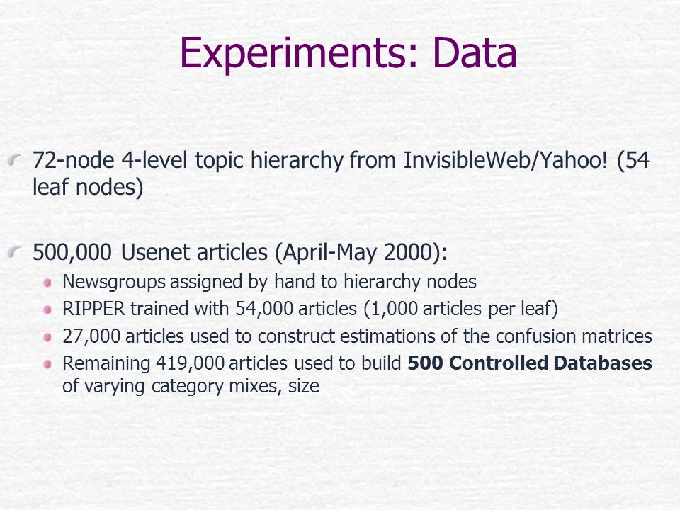 Experiments: Data 72-node 4-level topic hierarchy from InvisibleWeb/Yahoo! (54 leaf nodes) 500,000 Usenet articles (April-May 2000): Newsgroups assign