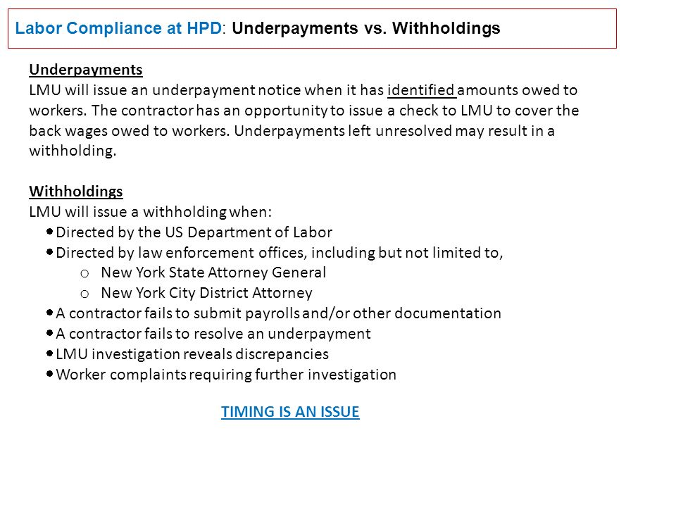 Labor Compliance at HPD: Underpayments vs.