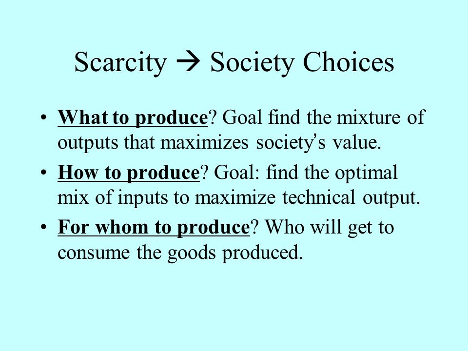 Scarcity Society Choices What to produce.