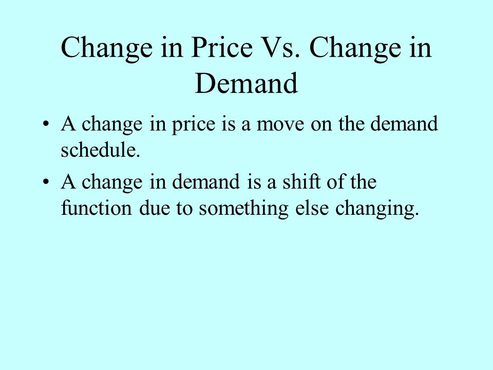 Change in Price Vs. Change in Demand A change in price is a move on the demand schedule.