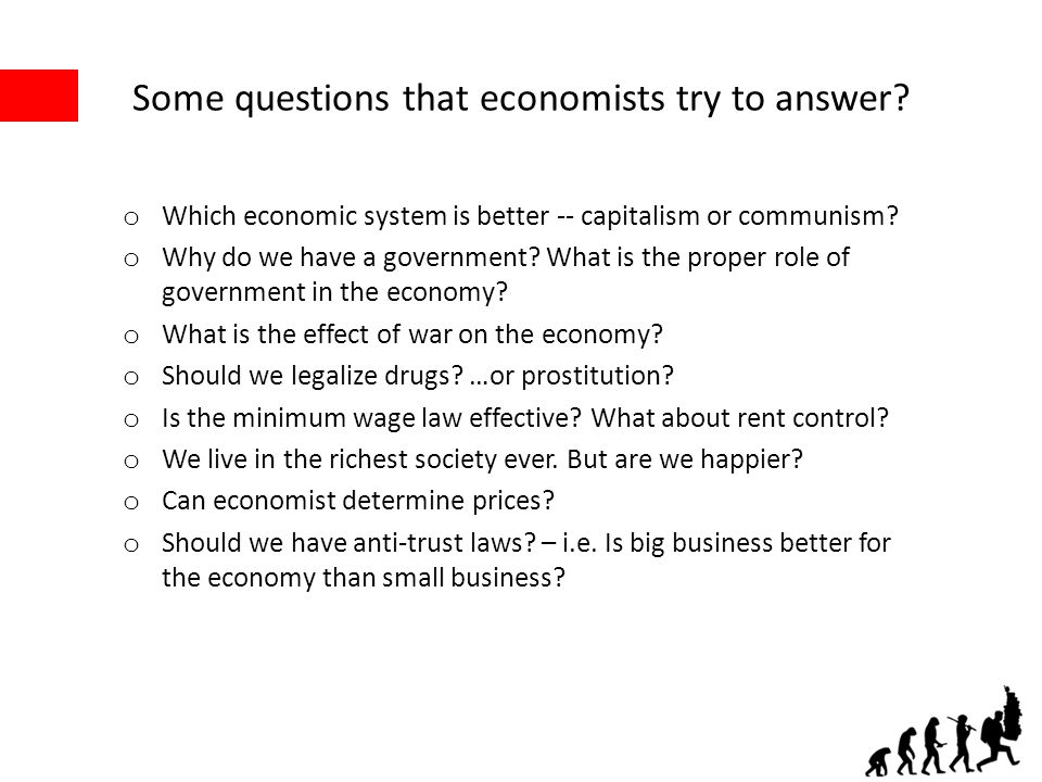 Some questions that economists try to answer.