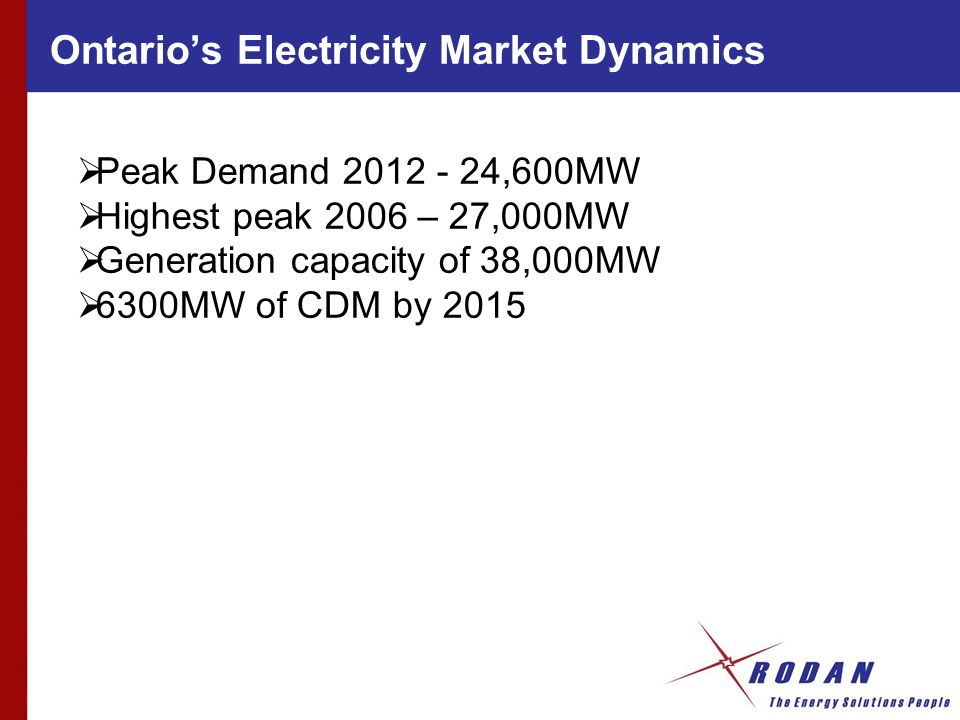 Peak Demand 2012 - 24,600MW Highest peak 2006 – 27,000MW Generation capacity of 38,000MW 6300MW of CDM by 2015