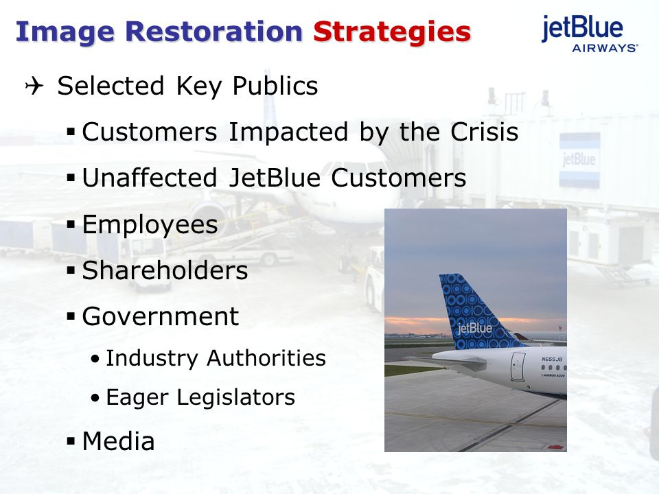 Selected Key Publics Customers Impacted by the Crisis Unaffected JetBlue Customers Employees Shareholders Government Industry Authorities Eager Legisl