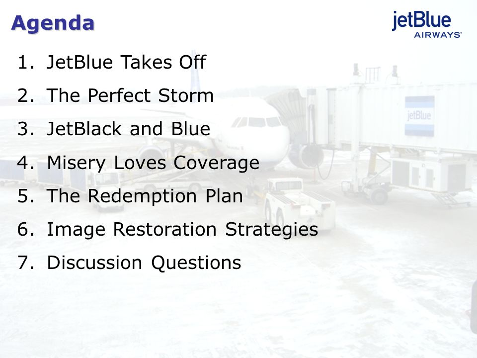1.JetBlue Takes Off 2.The Perfect Storm 3.JetBlack and Blue 4.Misery Loves Coverage 5.The Redemption Plan 6.Image Restoration Strategies 7.Discussion
