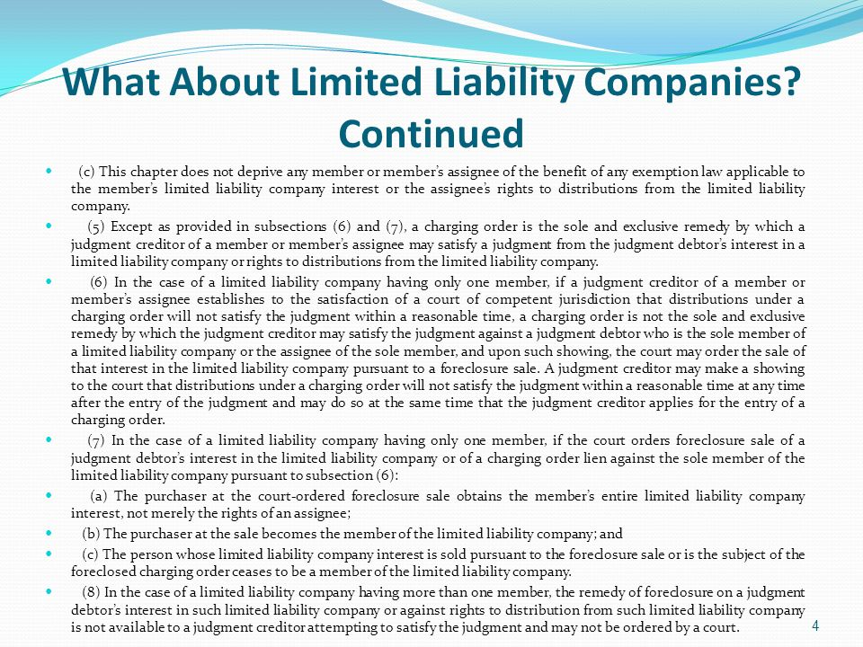 Does the LLC Have to be Party or the Creditor an Eligible Owner in Order for the Charging Order to be Valid.