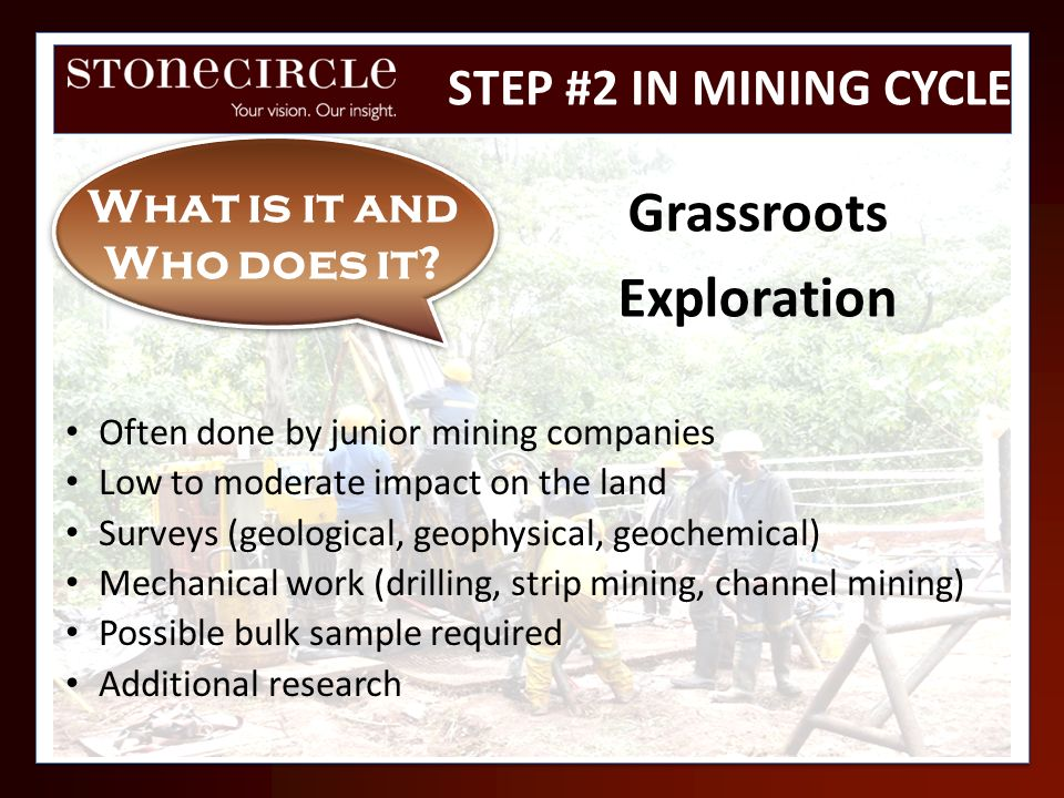 Often done by junior mining companies Low to moderate impact on the land Surveys (geological, geophysical, geochemical) Mechanical work (drilling, str