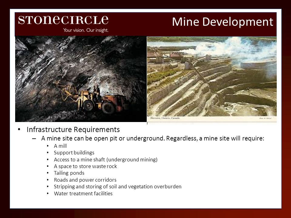 Infrastructure Requirements – A mine site can be open pit or underground. Regardless, a mine site will require: A mill Support buildings Access to a m