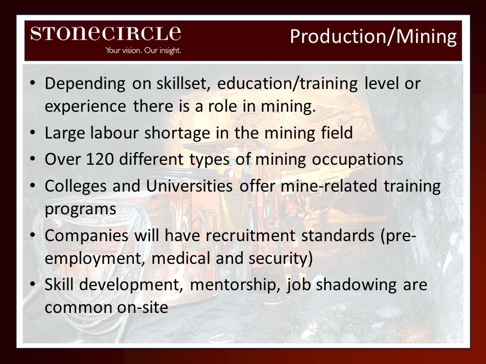 Depending on skillset, education/training level or experience there is a role in mining. Large labour shortage in the mining field Over 120 different