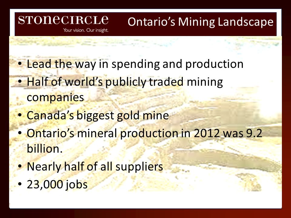 Lead the way in spending and production Half of worlds publicly traded mining companies Canadas biggest gold mine Ontarios mineral production in 2012