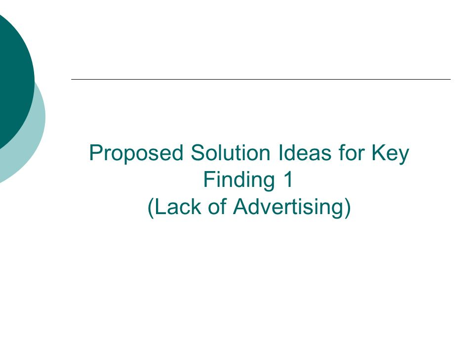 Proposed Solution Ideas for Key Finding 1 (Lack of Advertising)