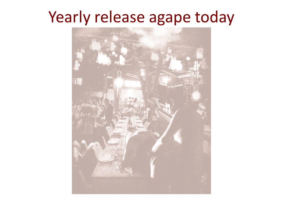 Yearly release agape today