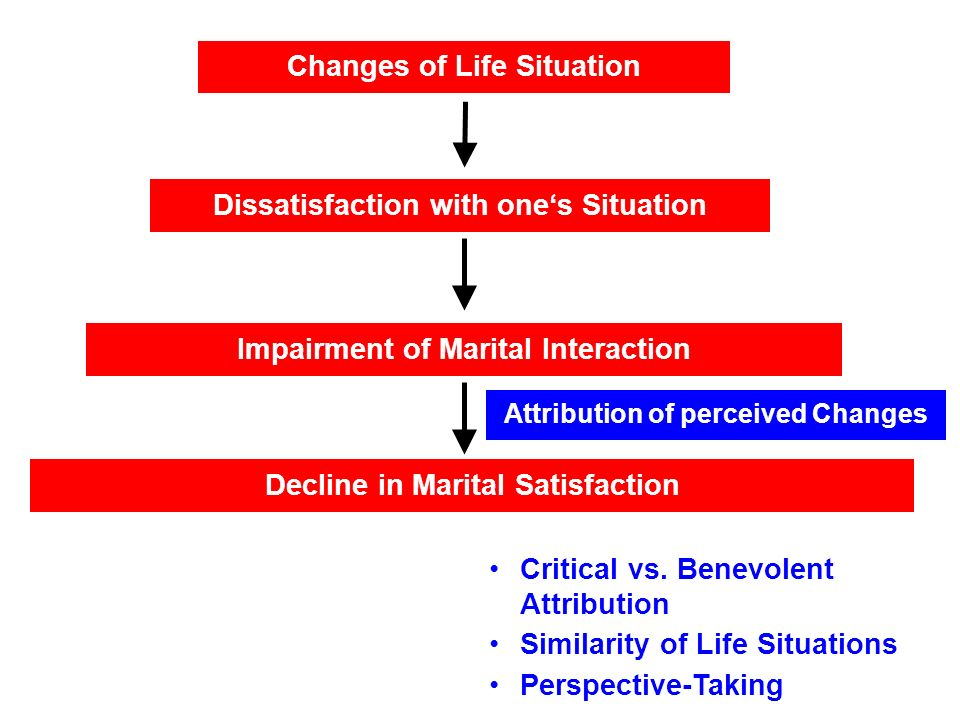 Changes of Life Situation Impairment of Marital Interaction Decline in Marital Satisfaction Dissatisfaction with ones Situation Attribution of perceived Changes Critical vs.