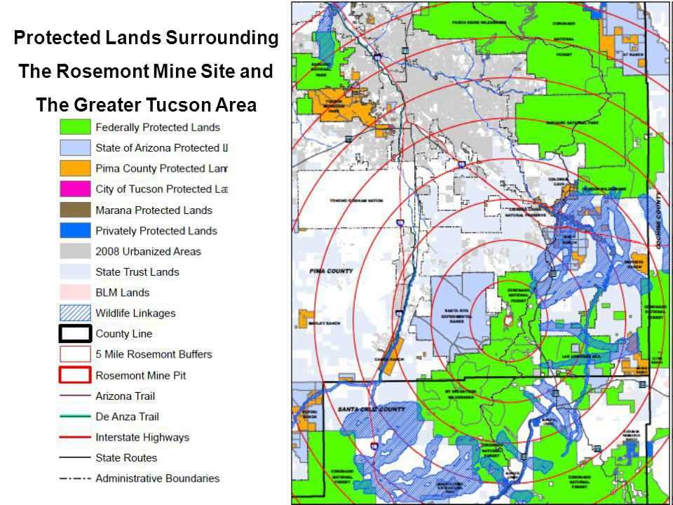Protected Lands Surrounding The Rosemont Mine Site and The Greater Tucson Area