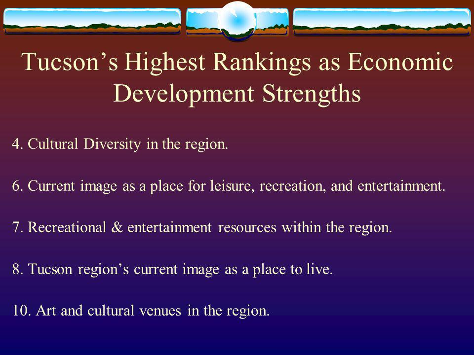 Tucsons Highest Rankings as Economic Development Strengths 4.