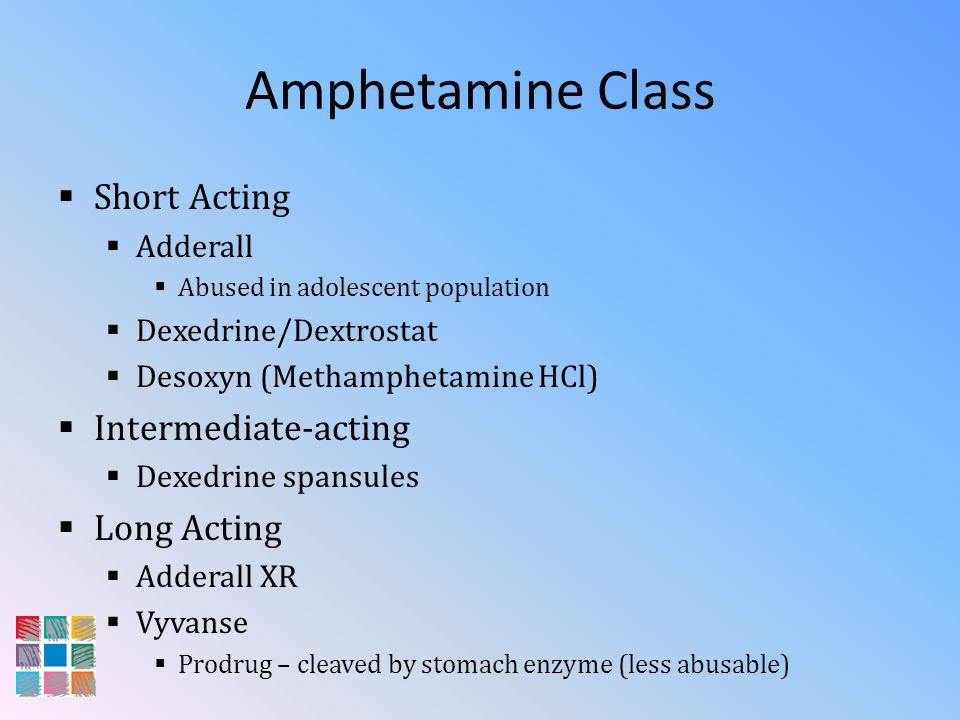 Amphetamine Class Short Acting Adderall Abused in adolescent population Dexedrine/Dextrostat Desoxyn (Methamphetamine HCl) Intermediate-acting Dexedri