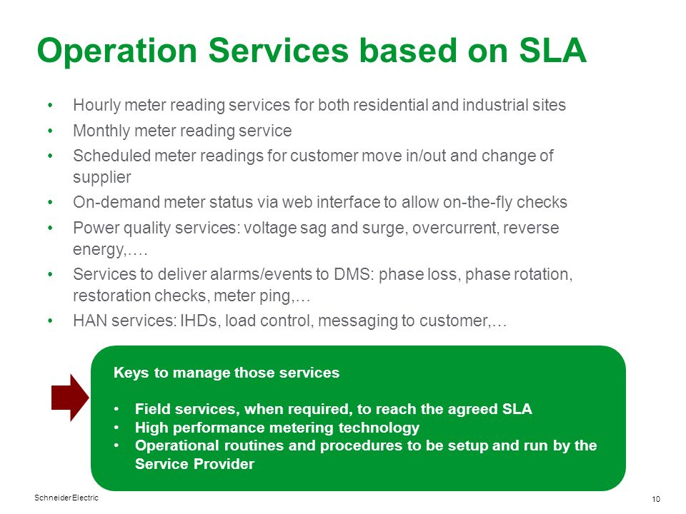 Schneider Electric 10 Operation Services based on SLA Hourly meter reading services for both residential and industrial sites Monthly meter reading se