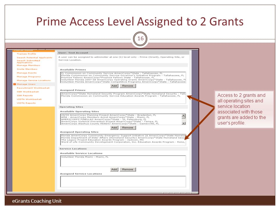 Prime Access Level Assigned to 2 Grants 16 eGrants Coaching Unit Access to 2 grants and all operating sites and service location associated with those