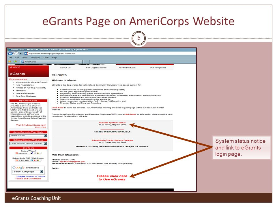 eGrants Page on AmeriCorps Website System status notice and link to eGrants login page.