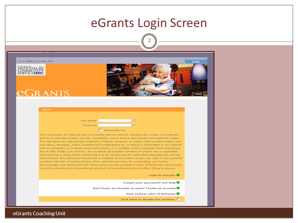 eGrants Login Screen eGrants Coaching Unit 7