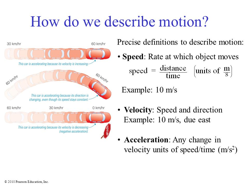 © 2010 Pearson Education, Inc. How do we describe motion? Precise definitions to describe motion: Speed: Rate at which object moves Example: 10 m/s Ve
