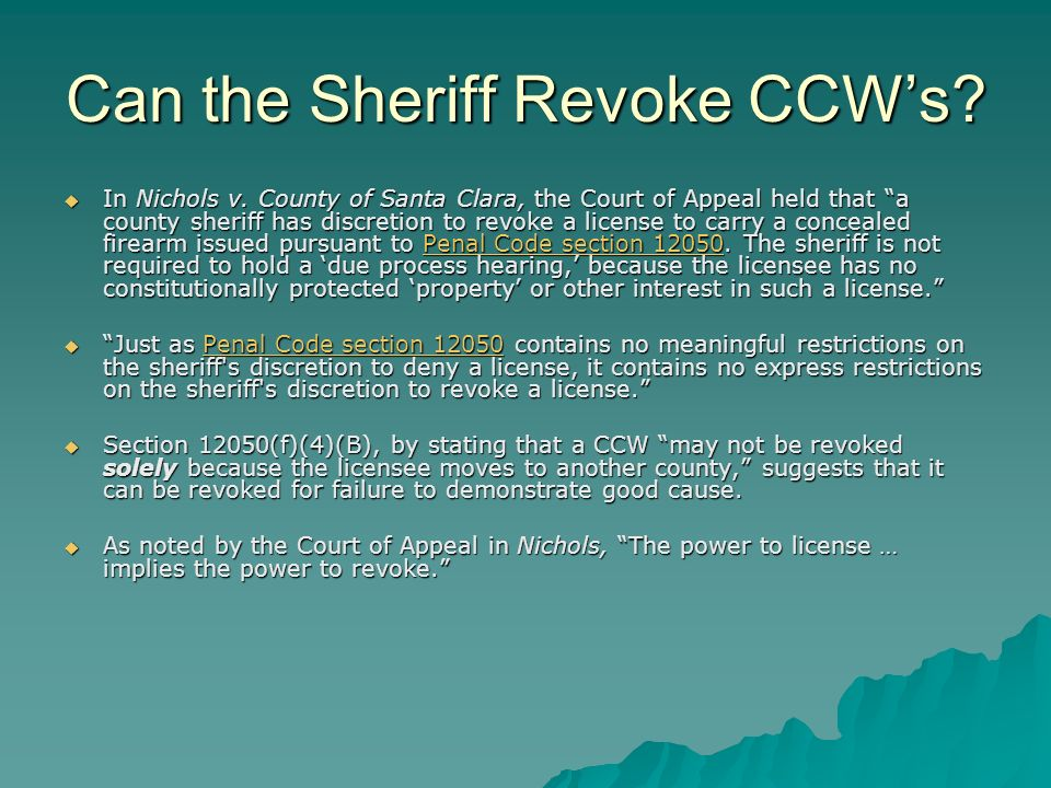 On What Basis Can the Sheriff Revoke CCWs.