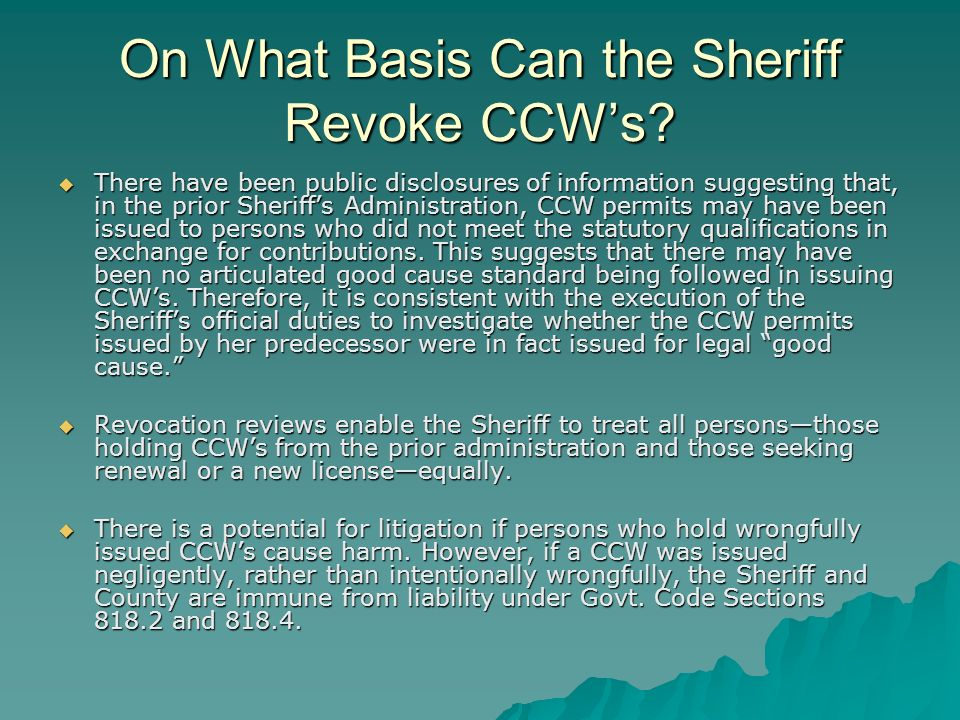 Does a County Board of Supervisors have any jurisdiction to direct the Sheriff in how to issue CCWs.