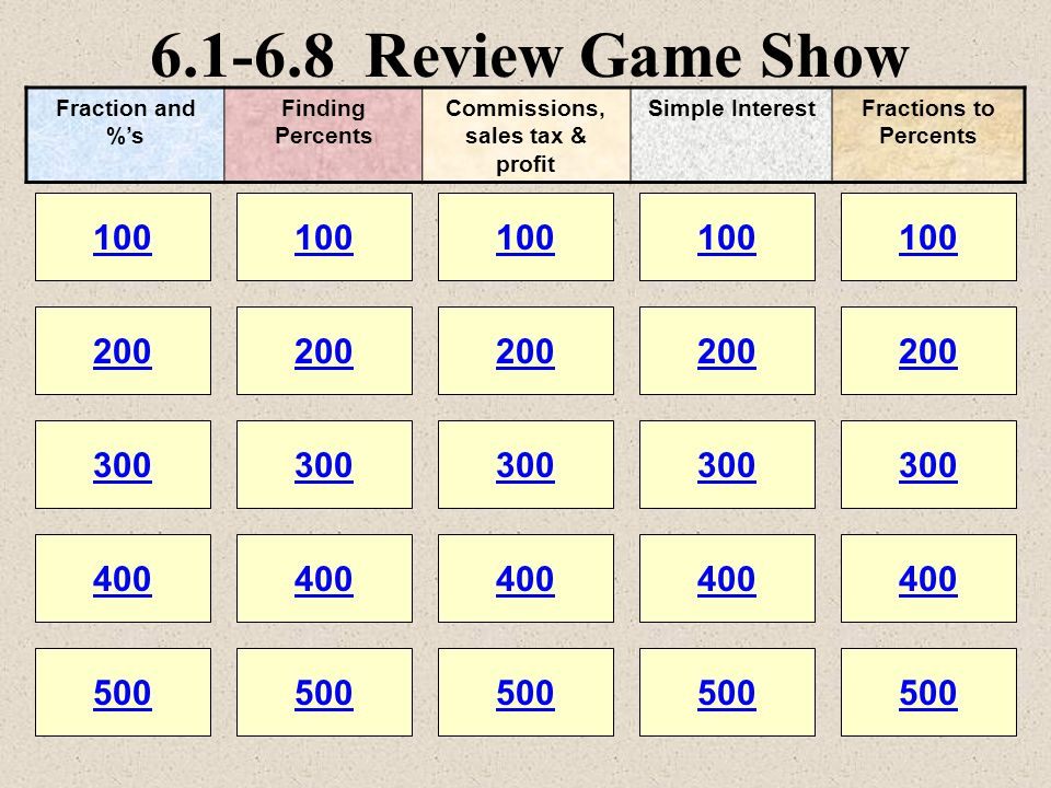 6.1-6.8 Review Game Show 100 200 100 200 300 400 500 300 400 500 100 200 300 400 500 100 200 300 400 500 100 200 300 400 500 Fraction and %s Finding P