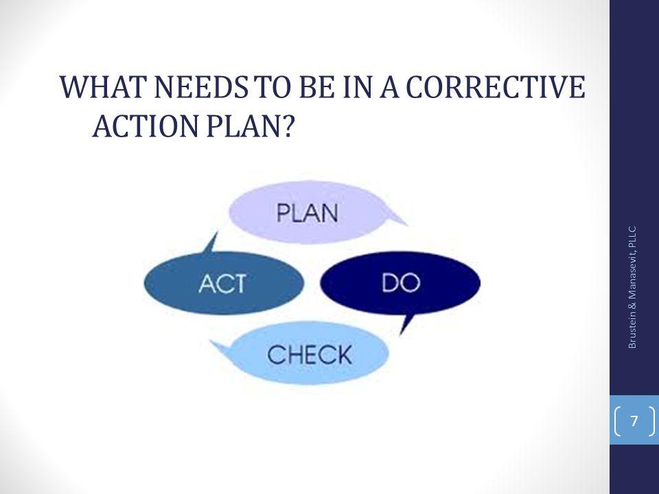 Corrective Action Plans Objective/activity (measurable) Timeline Identify person responsible Budget Data Deliverables Brustein & Manasevit, PLLC 8