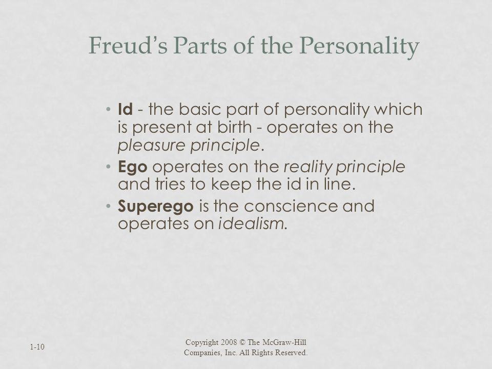 Freud s Parts of the Personality Id - the basic part of personality which is present at birth - operates on the pleasure principle. Ego operates on th