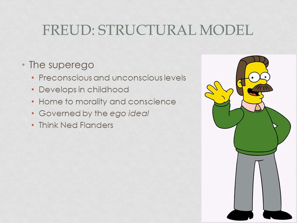 FREUD: STRUCTURAL MODEL The superego Preconscious and unconscious levels Develops in childhood Home to morality and conscience Governed by the ego ide