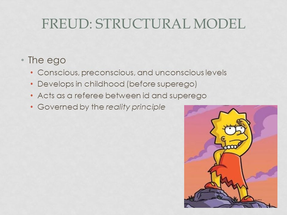 FREUD: STRUCTURAL MODEL The ego Conscious, preconscious, and unconscious levels Develops in childhood (before superego) Acts as a referee between id a
