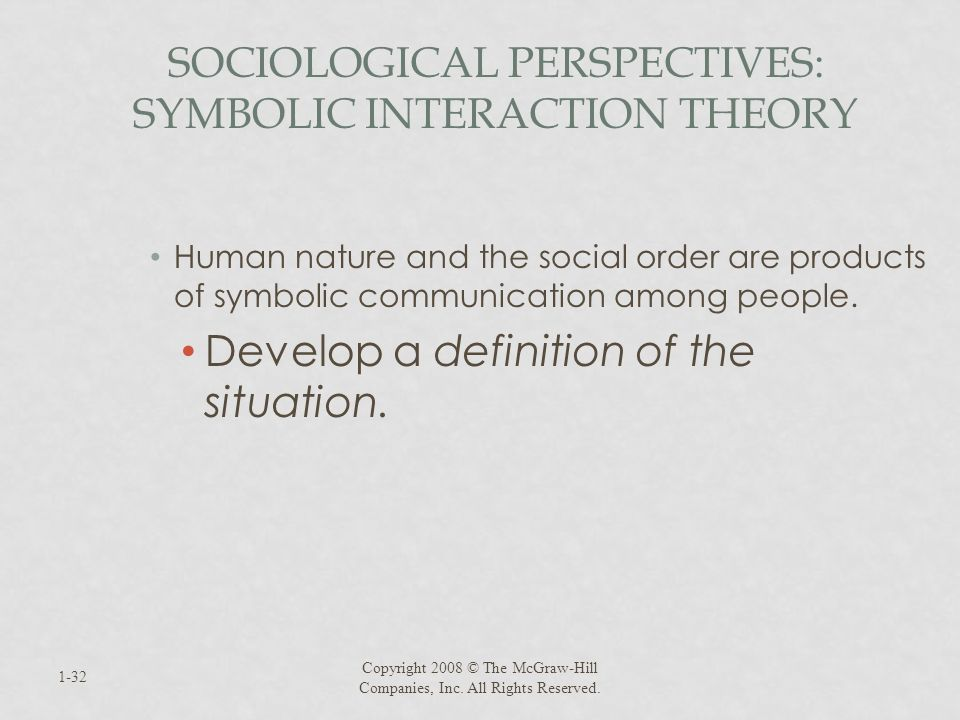 SOCIOLOGICAL PERSPECTIVES: SYMBOLIC INTERACTION THEORY Human nature and the social order are products of symbolic communication among people. Develop