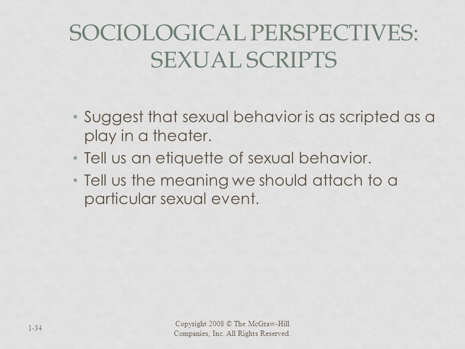 SOCIOLOGICAL PERSPECTIVES: SEXUAL SCRIPTS Suggest that sexual behavior is as scripted as a play in a theater. Tell us an etiquette of sexual behavior.