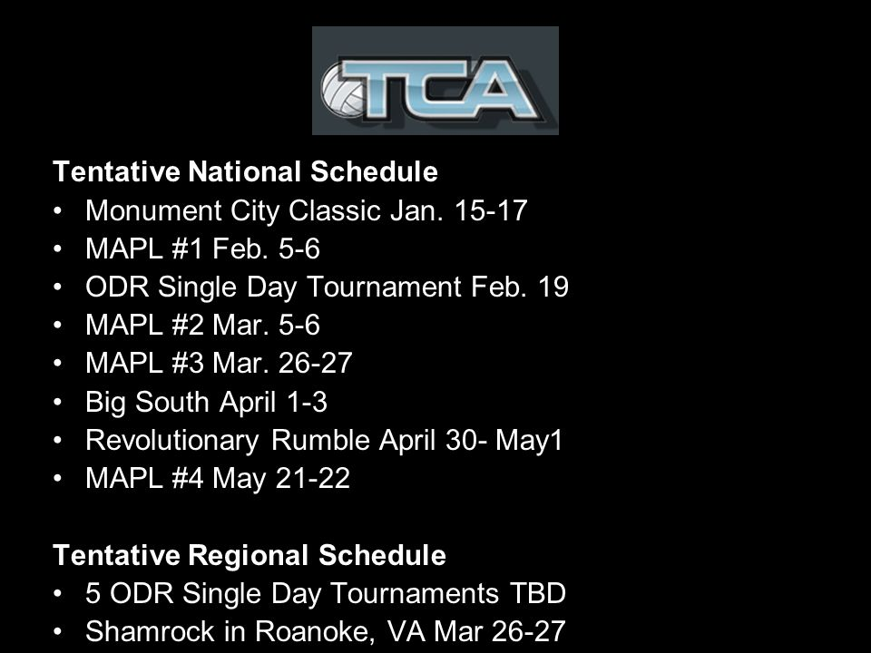 Tentative National Schedule Monument City Classic Jan.