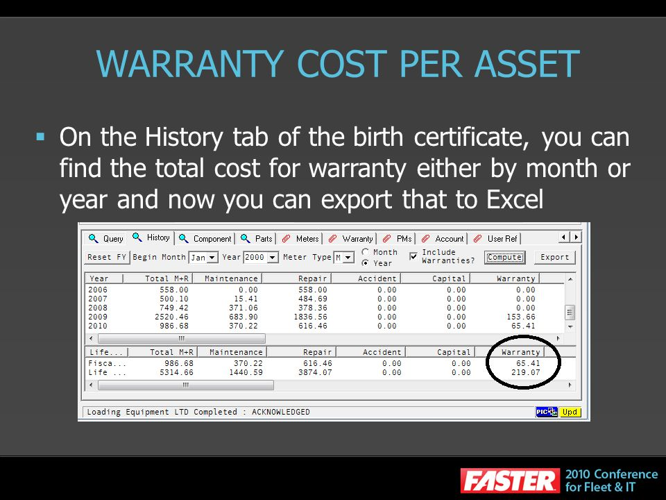 WARRANTY COST PER ASSET On the History tab of the birth certificate, you can find the total cost for warranty either by month or year and now you can