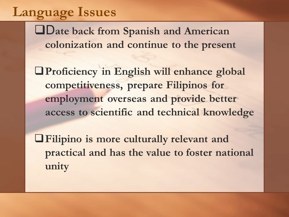 History … Other Regional Lingua Franca or First Language Programs: 1970s- 1980s First language literacy projects in non-formal sector sponsord by Summer Institute of Linguistics (SIL)-Philippines and by Translators Association of the Philippines (TAP) established in thirty Philippine languages NGO-supported Lingua Franca projects for youth and adults Variety of instructional and supplementary reading materials have been developed in lingua francae and first languages