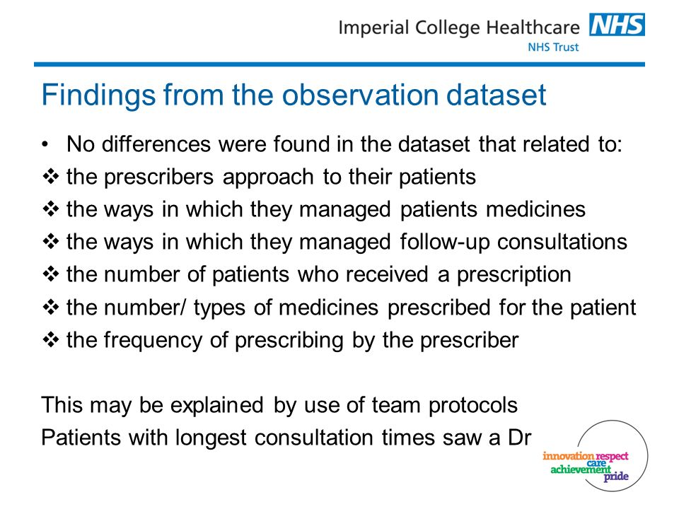 Findings from the observation dataset No differences were found in the dataset that related to: the prescribers approach to their patients the ways in which they managed patients medicines the ways in which they managed follow-up consultations the number of patients who received a prescription the number/ types of medicines prescribed for the patient the frequency of prescribing by the prescriber This may be explained by use of team protocols Patients with longest consultation times saw a Dr