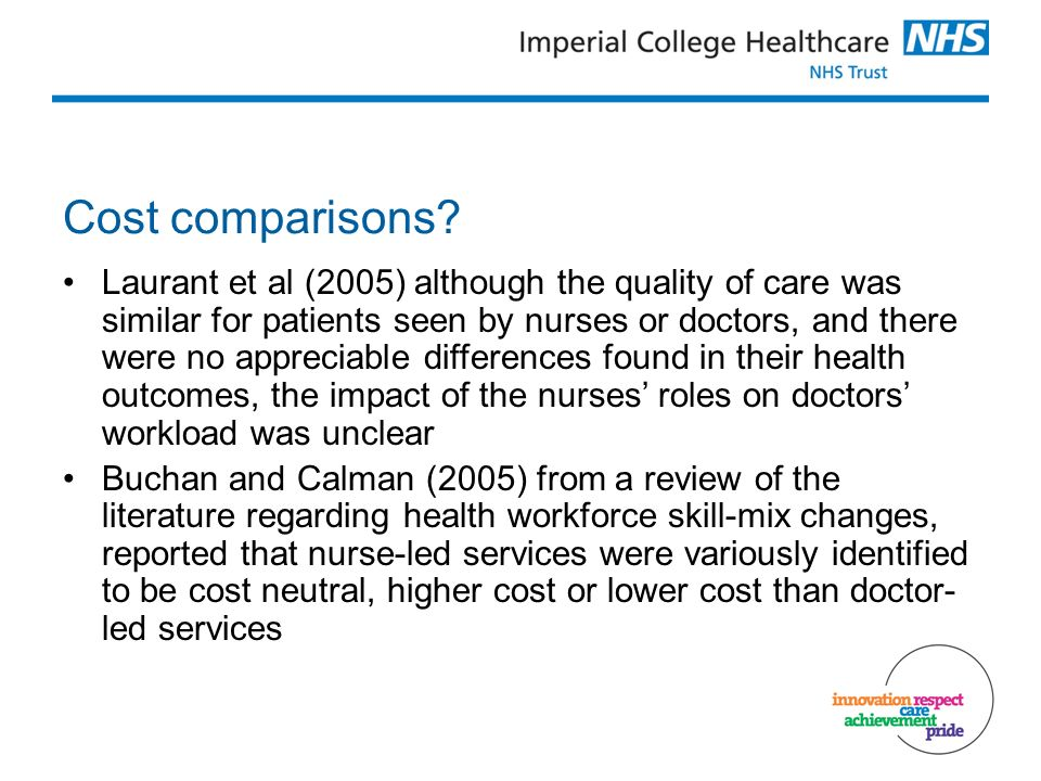 Cost comparisons.