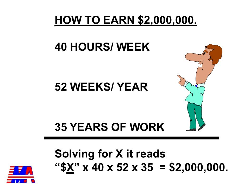 Lets Target $2,000,000 If I want to earn $2,000,000 in my lifetime I will need to earn $ X per hour.