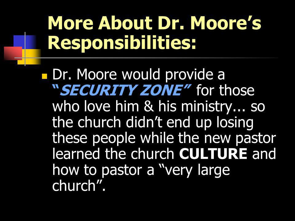 More About Dr. Moores Responsibilities: Dr.