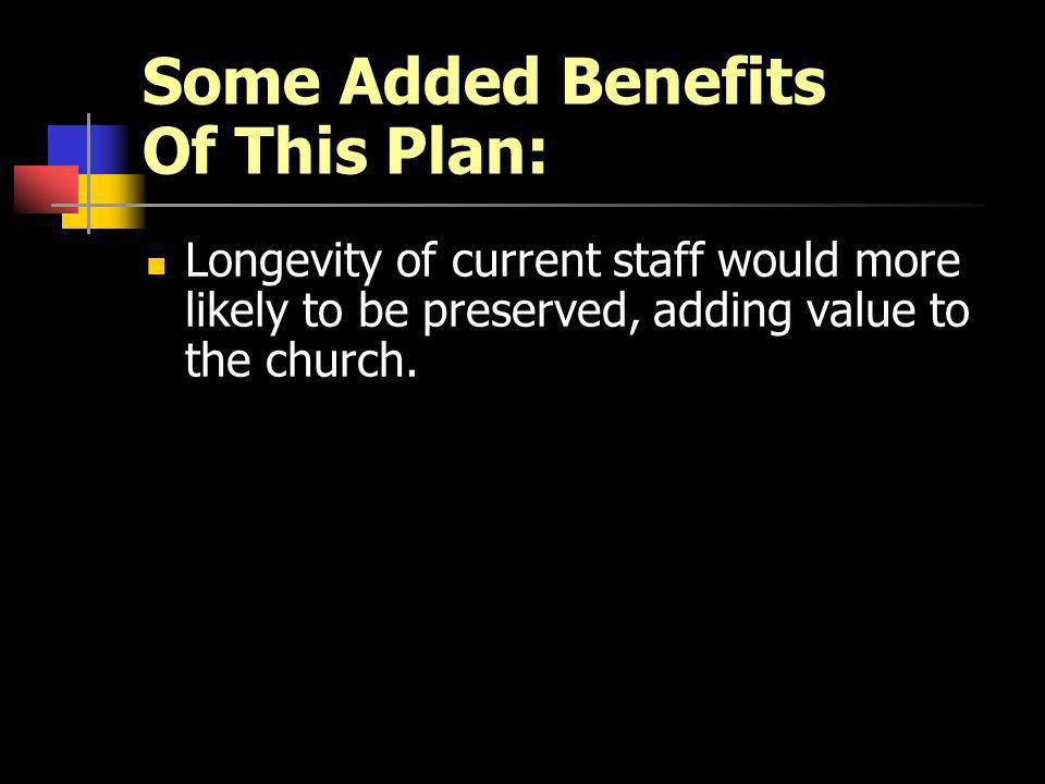 Some Added Benefits Of This Plan: Longevity of current staff would more likely to be preserved, adding value to the church.