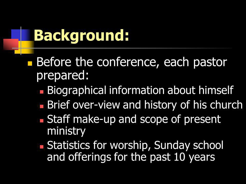 Background: Before the conference, each pastor prepared: Biographical information about himself Brief over-view and history of his church Staff make-up and scope of present ministry Statistics for worship, Sunday school and offerings for the past 10 years