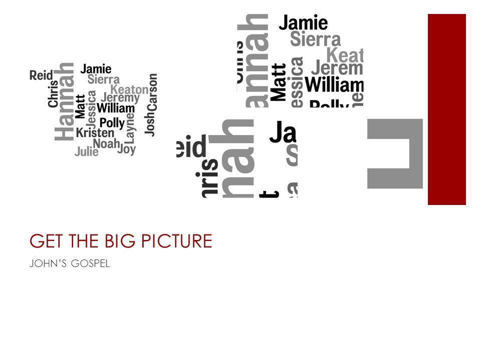 GET THE BIG PICTURE JOHNS GOSPEL