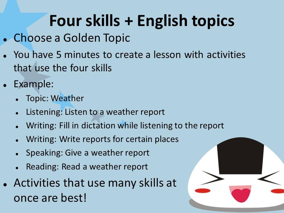 The 4 Skills ReceptiveProductive Verbal ListeningSpeaking Written ReadingWriting