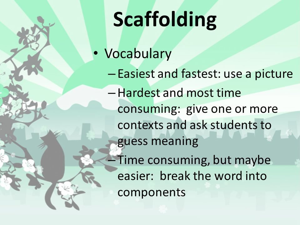 Scaffolding (pg 13) A process of breaking units of information into smaller pieces which are easier to process and learn. Vocabulary Grammar Activitie